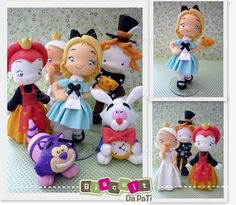 These are adorable Alice In Wonderland Pictures, Alice In Wonderland Party, Mad Hatter Cake, Fairytale Party, Fondant Cake Toppers, Polymer Clay Figures, How To Make Toys, Cute Clay, Clay Figurine