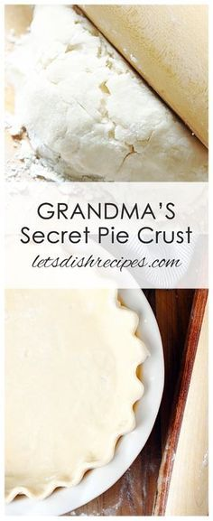 GRANDMA'S SECRET PIE CRUST — A few secret ingredients come together in this perfect pie crust recipe. So tender and flaky, you'll never use another pie crust recipe again! all about pie recipes Easy Pie Crust, Homemade Pie Crusts, Pie Crust Recipes, Mini Pie Crust, Vodka Pie Crust, No Fail Pie Crust, Homemade Breads, Pie Pastry Recipe, Pastry Recipes