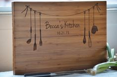 Personalized Cutting Board Engraved Bamboo by Twistedbranchdesigns