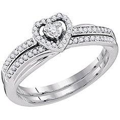 0.25 Carat (ctw) 10K White Gold Round Cut White Diamond Heart Shaped Bridal Engagement Ring Set 1/4 CT