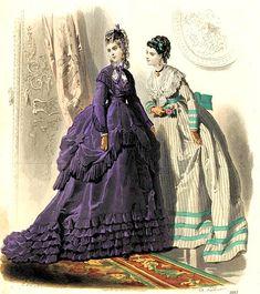 Victorian Fashion, Vintage Fashion, Victorian Women, Fashion Illustration Vintage, Fashion Illustrations, Victorian Costume, 19th Century Fashion, Purple Fashion, Fashion Plates