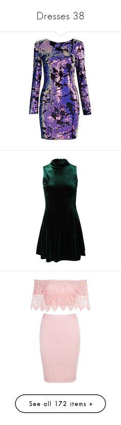 """Dresses 38"" by musicmelody1 on Polyvore featuring dresses, violet dress, sequin cocktail dresses, sequined dress, sequin embellished dress, green, womens-fashion, circle skirts, green skater skirt and velvet skater skirt"