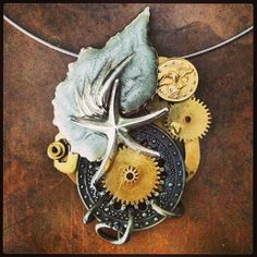 Steampunk necklace with a beach theme- made by Skye