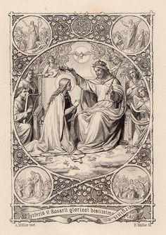 Rosarii gloriosi beatissima Mariae Virginis A German holy card of the five Glorious Mysteries of the Rosary: 1. The Resurrection of Christ2. The Ascension of Christ3. The Descent of the Holy Ghost4. The Assumption of Mary5. The Crowning of Mary in Heaven Activity | Awestruck Catholic Social Network