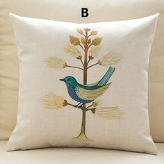 Leaf bird pillow pastoral arts couch cushions 18 inch