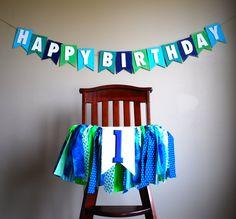High Chair Tutu Birthday Rag Tie Fabric Bunting by AudrianaPaper