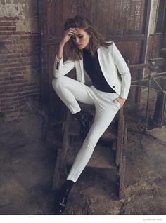 Kyla Gold Femme Suit  Wedding Inspiration | Michaela Hlavackova Smolders for Elle Spain | Xavi Gordo