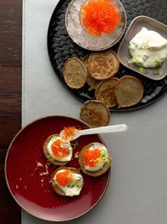 Lemon Blinis with Caviar and Scallion Crème Fraîche