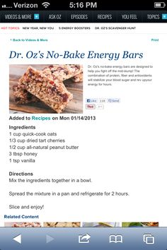 Dr. Oz no bake energy bars