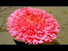 Красивый гигантский цветок из гофрированной бумаги - хризантема, мастер класс - YouTube