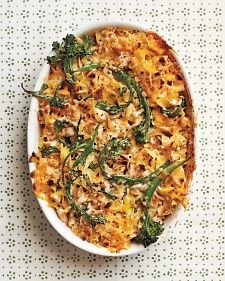 Chicken-and-Broccolini mac & cheese - I used lowfat cream cheese and lemon infused olive oil for the breadcrumbs - YUM!