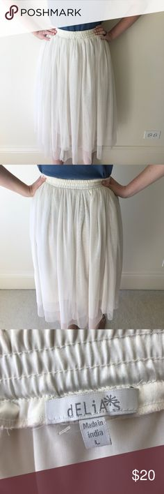 {dELiA*s} Tulle Midi Skirt Cream colored skirt that makes you feel like a ballerina. {ask questions & make offers} dELiA*s Skirts Midi