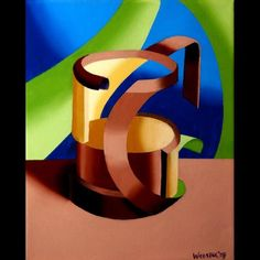 "Daily Paintworks - ""Mark Webster - Futurist Abstract Art Deco Beer Mug Oil Painting"" - Original Fine Art for Sale - © Mark Webster"