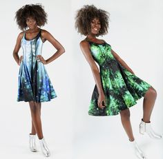 Galaxy Emerald Vs Forest Orbs Longline Inside Out Dress ($199AUD) by BlackMilk Clothing