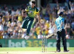 Mitchell Johnson was at his devastating best in his first spell and picked up three quick wickets Mitchell Johnson, Tri Series, World Cricket, Finals, Wickets, England, Australia, Running, Sports