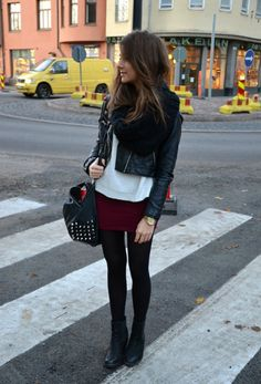 Cute and cozy way to wear a skirt in cold weather--just need a longer skirt!