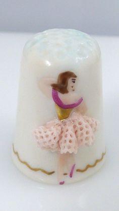 Vintage Irish Dresden Ballerina Pink Tutu Porcelain Hand Painted Sewing Thimble