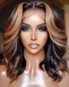 Wig Styles, Curly Hair Styles, Natural Hair Styles, Pretty Hairstyles, Wig Hairstyles, Honey Blonde Highlights, Golden Highlights, Pelo Natural, Brown Balayage