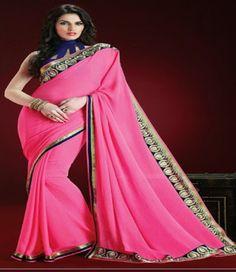 Pink Georgette Party Wear Saree