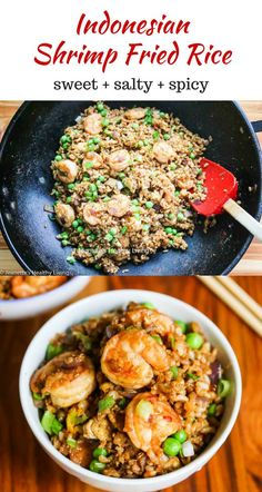 Indonesian Shrimp Fried Brown Rice - this healthy dish is so flavorful - you have to try this! ~ http://jeanetteshealthyliving.com