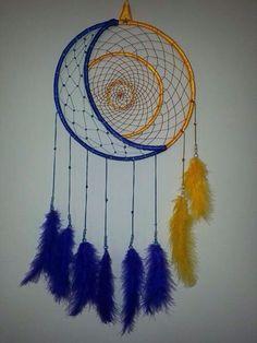 Dreamcatcher blue & yellow with  sun & moon design