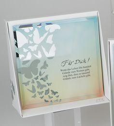 """Formano Glasbild Spiegelweißheit Silhouetten mit Spruch """"Für Dich .Für Dich! Wenn das Leben dir hundert Gründe zum weinen gibt, zeig ihm, das es tausend Gründe zum lächeln gibt 15x15cm 888570 Geschenkidee Geburtstag Deko & Geschenkideen Schriftzug"""
