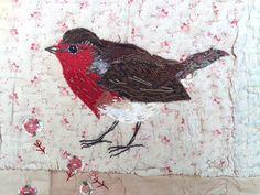 Unframed opgestikte robin met borduurwerk op door MandyPattullo