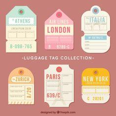 Etiquetas para o curso em design plano V. Luggage Tag Template, Passport Template, Vintage Luggage Tags, Vintage Labels, Printable Stickers, Cute Stickers, Design Plano, Wedding Badges, Travel Sketchbook