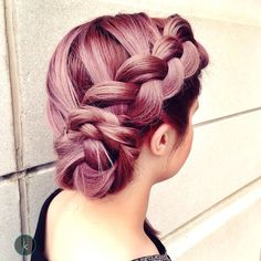 Upgrade your braid with a pastel lavender-pink #AvedaColor like this one from Keema Salon.
