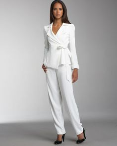 all white women pant suits - Yahoo Image Search Results