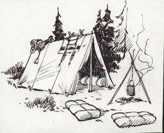 Survival camping tips Pencil Art Drawings, Art Drawings Sketches, Campfire Drawing, Travel Drawing, Illustration, Cute Cartoon Wallpapers, Art Sketchbook, Ink Art, Pixel Art