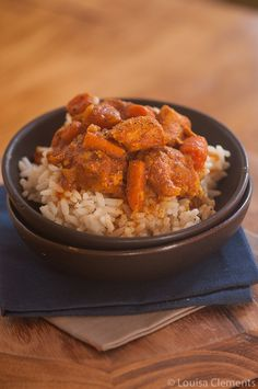 Make slow cooker moroccan chicken stew for dinner with this easy recipe with chicken breasts, sweet potatoes and carrots cooked all in the crockpot.