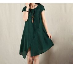 Fashion Women Green Front Folding Dress Cotton Linen Sundress Loose Fit Dress Short Sleeve Sundress Asymmetric  Hem Dress