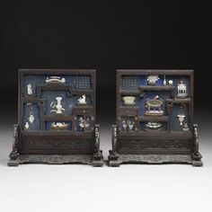A PAIR OF EMBELLISHED JADE, IVORY, GLASS AND HARDSTONE 'PRECIOUS OBJECTS' SCREENS<br><P>QING DYNASTY, 19TH CENTURY</P>   lot   Sotheby's