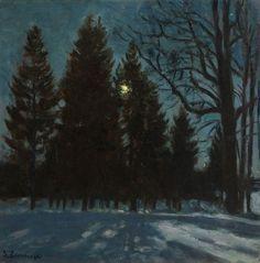 "thunderstruck9: ""Stanislav Zhukovsky (Polish/Russian, 1873-1944), Winter Night, 1931. Oil on board, 48 x 48 cm. """