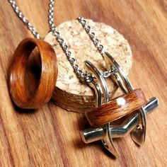 Beautiful Wooden rings and functional necklace Ancient Japanese Art, 3d Printing Technology, Wooden Rings, Arrow Necklace, Jewelry Making, Pendants, Design, Wood Rings, Hang Tags