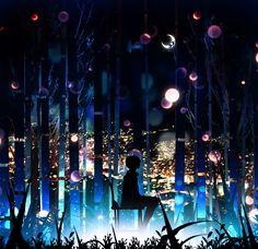 Фото Парень сидит на стуле в окружении высоких деревьев, за которыми виднеются огни ночного города, арт от Harada Miyuki