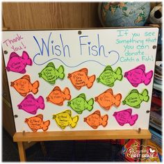 First Day of School Freebie Fish themed class (or you can make it a holiday theme for parties) donation request board.Fish themed class (or you can make it a holiday theme for parties) donation request board. 2nd Grade Classroom, Kindergarten Classroom, Classroom Themes, Ocean Themed Classroom, Classroom Donation Ideas, Kindergarten Open House Ideas, Holiday Classrooms, Preschool Bulletin, Kindergarten Graduation