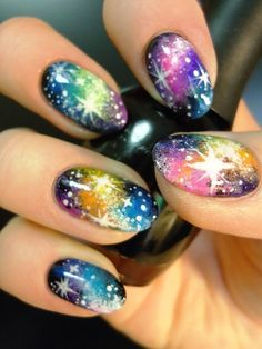 Rainbow Galaxy Nail Art! see the world from different colors and swirls