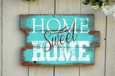 "Quote signs make awesome home decorations! They inspire, motivate and keep you focused and what matters most. This wood pallet sign with ""Home Sweet Home"" does just that. It's the perfect rustic wood"