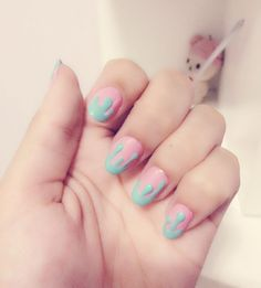 ❤ Blippo.com Kawaii Shop ❤ mint and pink melty nails