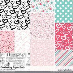 Everlasting Paper Pack Designer patterns in 12x12 scrapbook digital papers with handdrawn hearts and more #designerdigitals