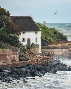 """Landscapes, Animals & Heritage on Instagram: """"There's just something special about thatched cottages - so much charm. I just love the spot this one is in too, super wild! I wonder how…"""" The Sound Of Waves, Beautiful Places, England, Exterior, Fire, Cabin, House Styles, Travel, Animals"""