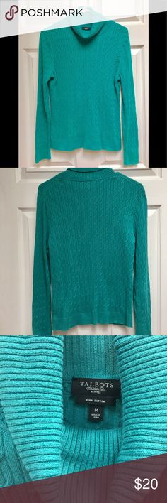 Talbots teal sweater size PM Talbots Petites L/S sweater Teal/turquoise color Size PM 100% Pima cotton Machine washable Talbots Sweaters Cowl & Turtlenecks