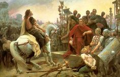 The painting depicts the surrender of the Gallic chieftain after the Battle of Alesia