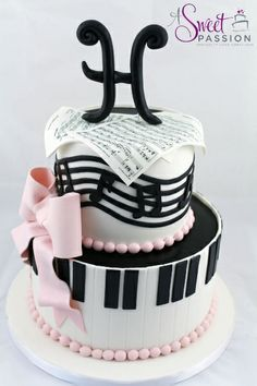 We loved creating this musical themed birthday cake for a music lover turning The sheet music was custom made for the guest of honor. Good Cake for holiday Music Themed Cakes, Music Cakes, Themed Birthday Cakes, Birthday Music, Pink Birthday, 13th Birthday, Happy Birthday, Pretty Cakes, Beautiful Cakes