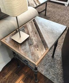 concrete coffee table with wood inlay for sale