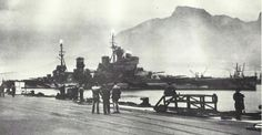 14 in King George V class battleship HMS Prince of Wales pictured at Capetown in South Africa whilst on her ill fated voyage to Singapore, where she was supposed to deter Japanese aggression: together with her consort, battlecruiser HMS Repulse, she was sunk by air attack three days after Pearl Harbor.