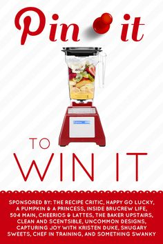 Blendtec Giveaway!!! Come to chef-in-training.com to enter for your chance to win one of these amazing blenders! #giveaway