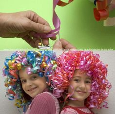 DIY Halloween wigs for kids. Cheaper to make with gift ribbon from dollar store.